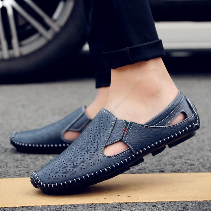 Men's Plus Size Breathable Leather Slip Ons